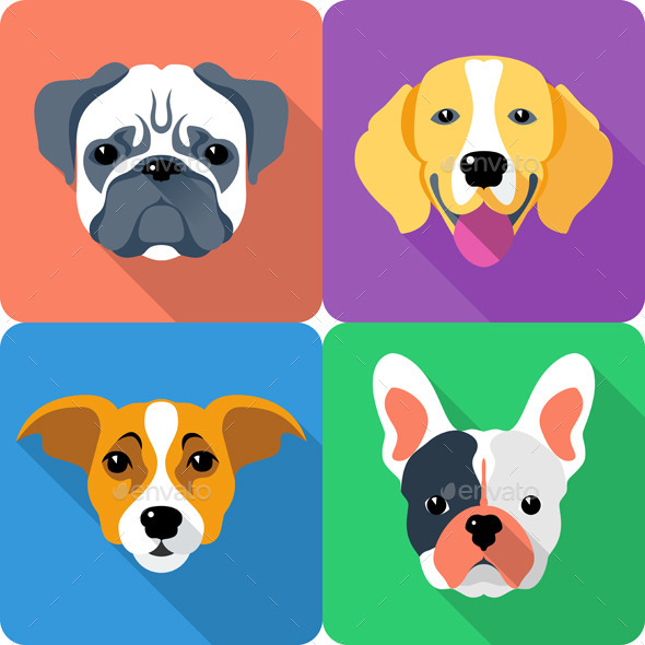 Flat Dog Icon Set - Animals Characters