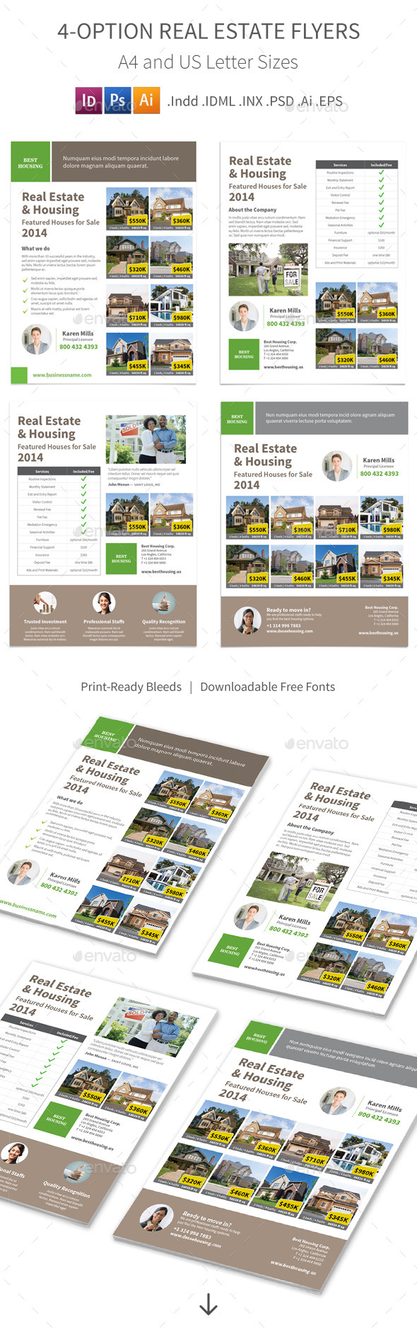 Real Estate Flyers – 4 Options - Informational Brochures