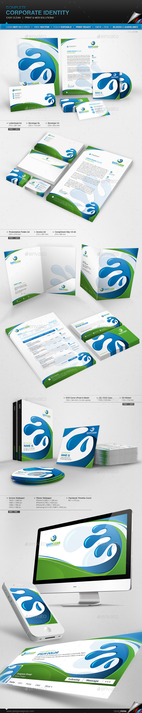 Corporate Identity - Easy Clean - Stationery Print Templates