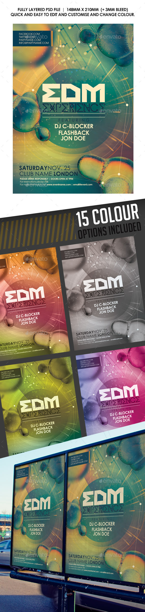 EDM Experience Flyer - Clubs & Parties Events