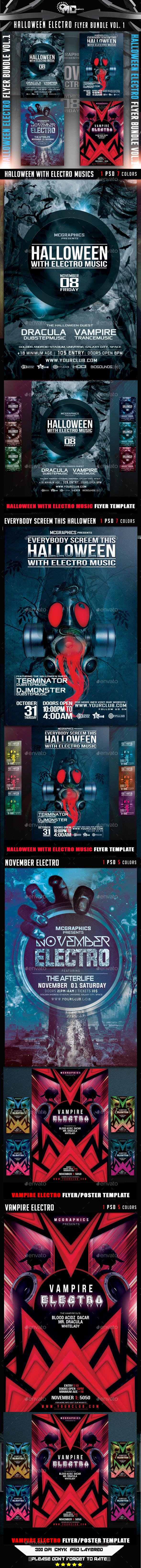 Halloween Electro Flyer Bundle Vol. 1 - Events Flyers