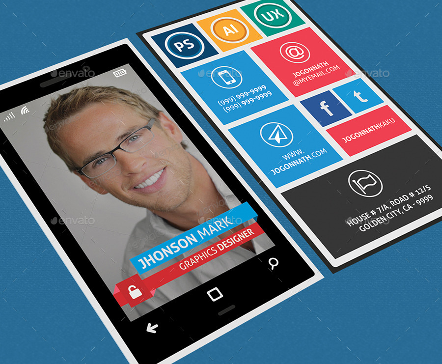 Windows phone style colorful business card by fayejkhan graphicriver windows phone style colorful business card colourmoves Images