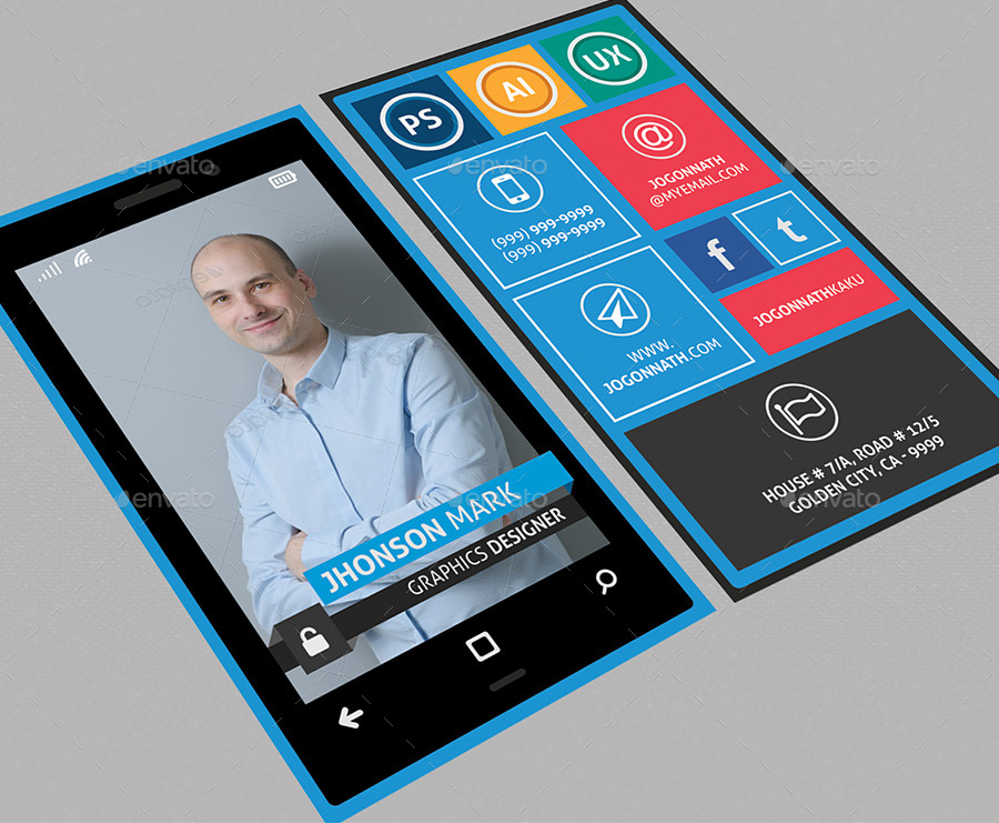 Windows Phone Style Colorful Business Card by fayejkhan | GraphicRiver