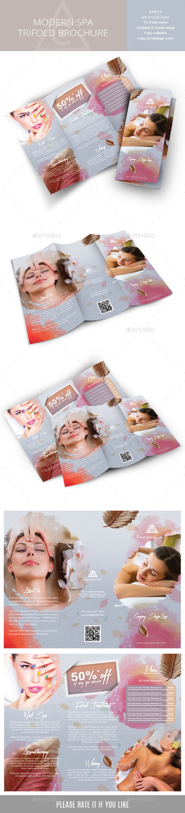 Tri-fold brochure for Spa or Body-care Business - Corporate Brochures