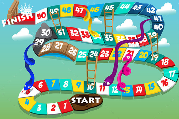Snakes and Ladders Game - Animals Characters