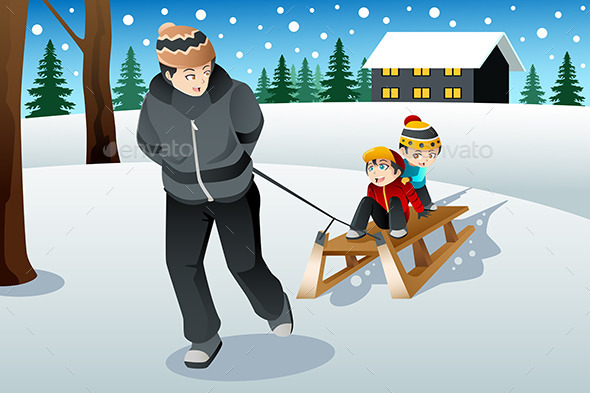 Father Pulling His Sons Riding on a Sled - Sports/Activity Conceptual
