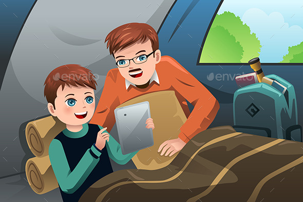 Father and Son Reading a Tablet PC - People Characters