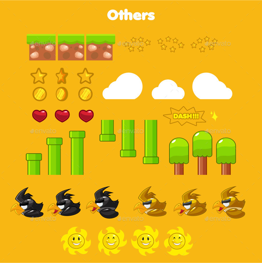 Flappy Duck Game Assets by pecellele_pencil | GraphicRiver