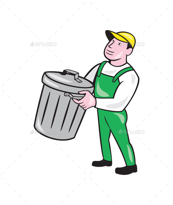 Garbage Collector Carrying Bin Cartoon - People Characters