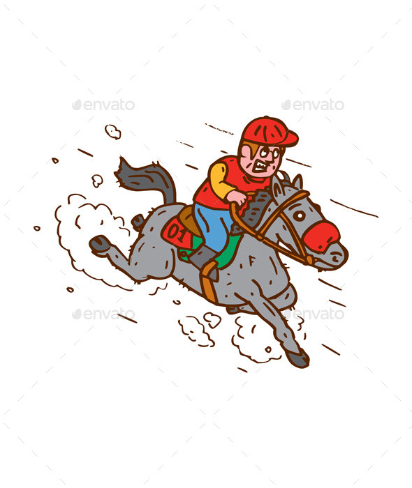 Jockey Horse Racing Cartoon - Sports/Activity Conceptual
