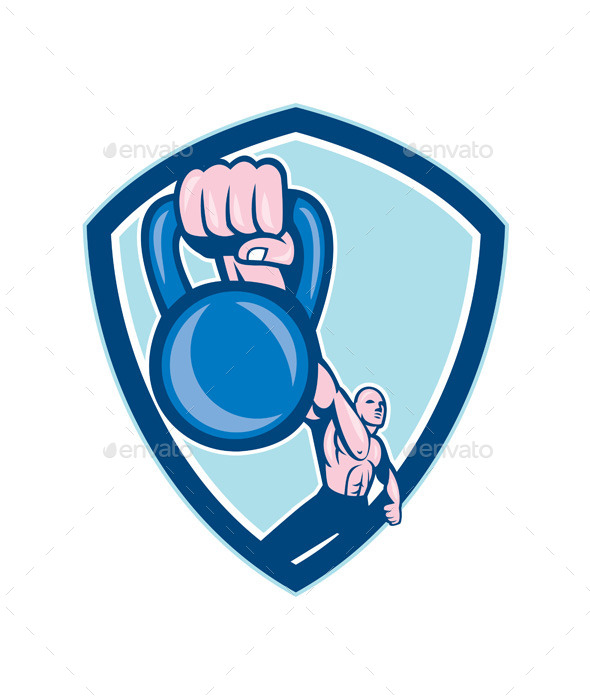 Weightlifter Lifting Kettlebell Shield Cartoon - Sports/Activity Conceptual