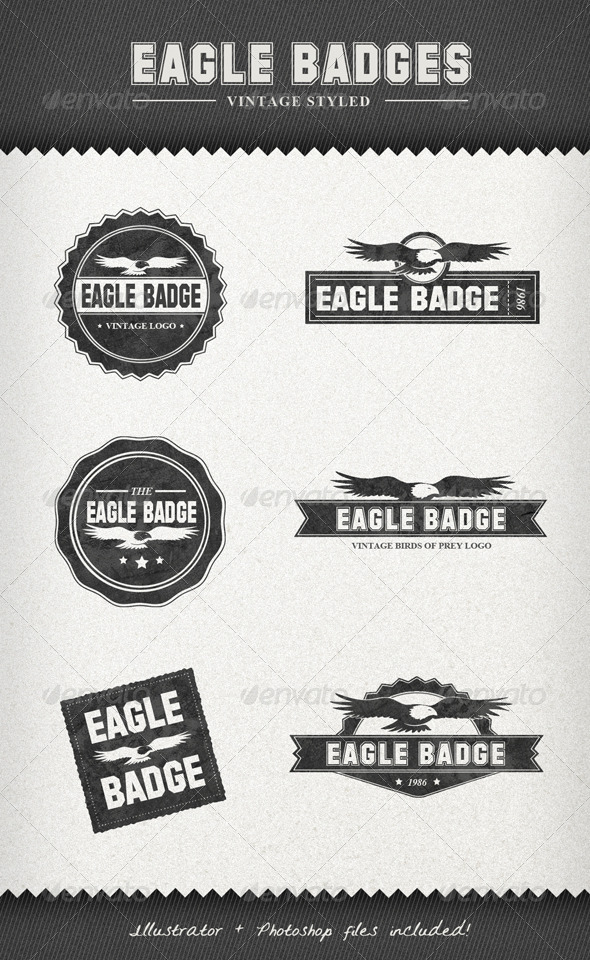 Eagle Badges – Vintage Style Labels - Badges & Stickers Web Elements