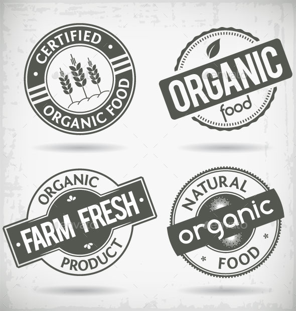 Organic Food Labels - Decorative Symbols Decorative
