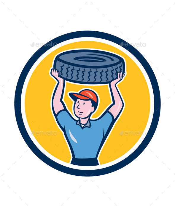 Tireman Mechanic With Tire Cartoon Circle - People Characters