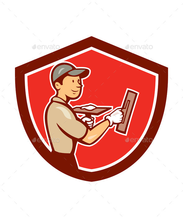 Plasterer Masonry Worker Shield Cartoon - People Characters