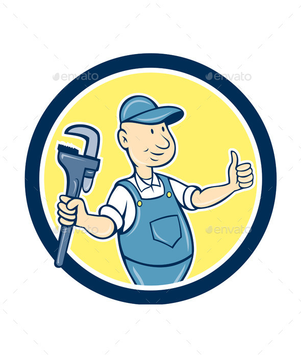 Plumber Monkey Wrench Thumbs Up Cartoon - People Characters