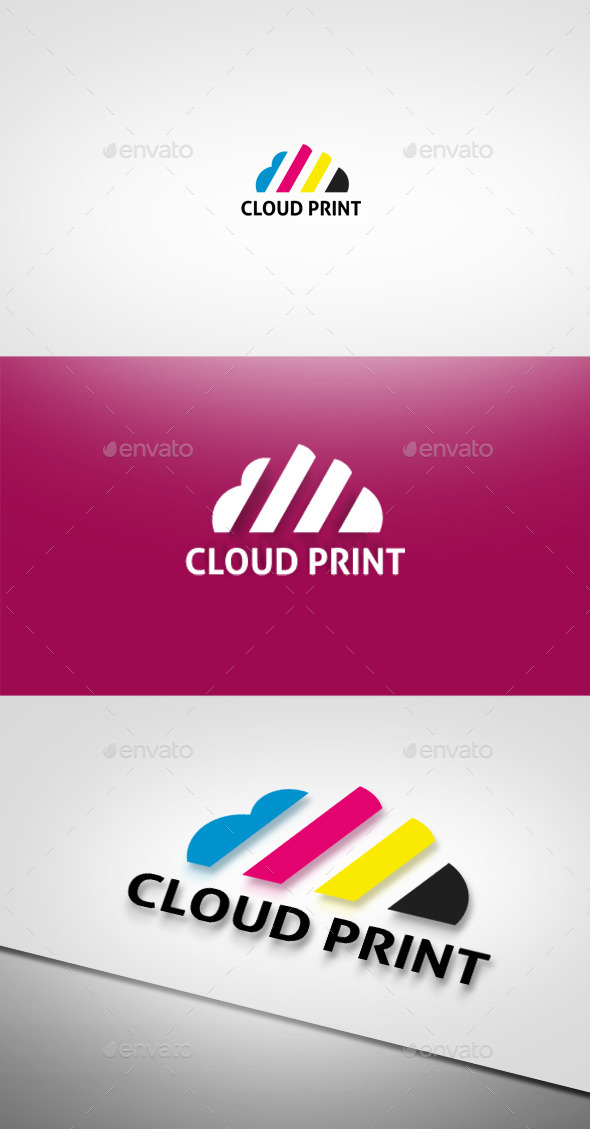 Cloud Print Logo - Objects Logo Templates