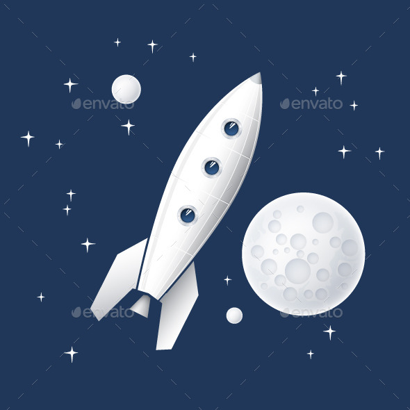 Space Rocket Flying in Space. Vector Illustration - Vectors