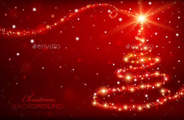 Magic Christmas Tree Christmas Background By Baks GraphicRiver - Magic Christmas Tree