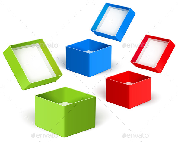 Open Color Boxes - Objects Vectors