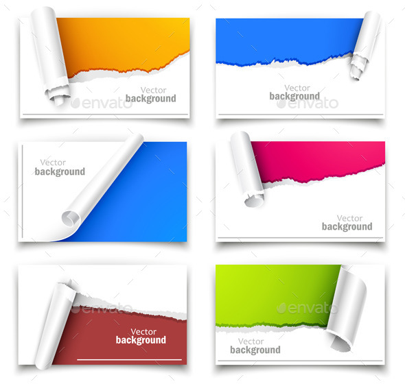 Set of Gift Cards with Torn Corners - Backgrounds Business