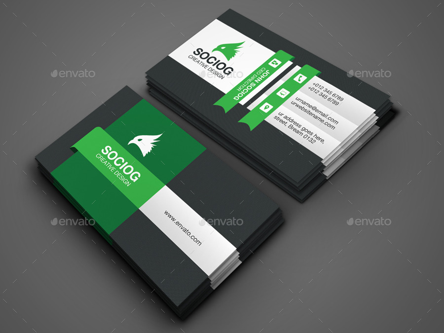 Flat Business Card by -axnorpix | GraphicRiver