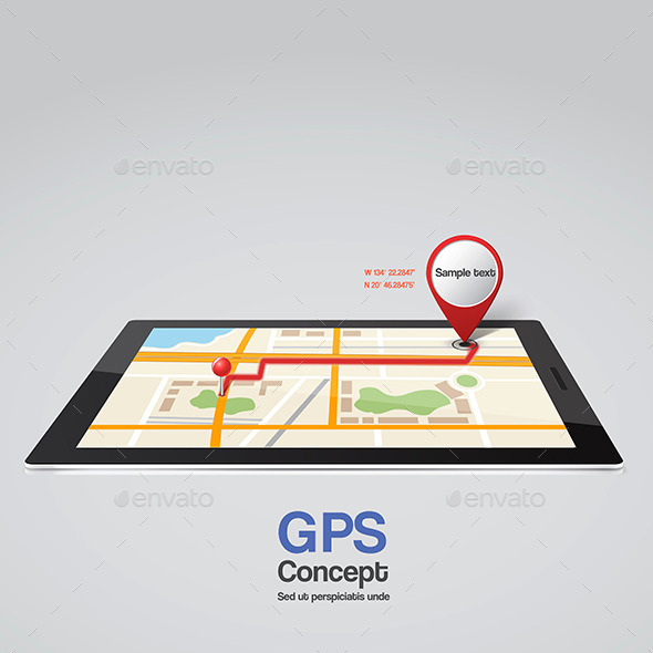 Mobile Phone with Pointer on Screen, GPS Concept - Conceptual Vectors