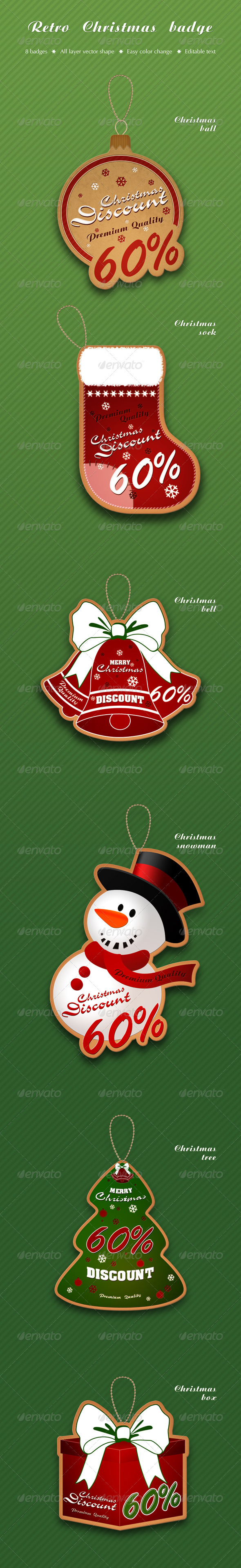 Retro Christmas badge - Badges & Stickers Web Elements
