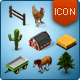 Isometric Map Icons - Animals, Plants and Farm