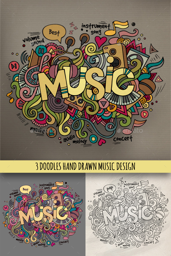 3 Music Doodles Designs - Media Technology