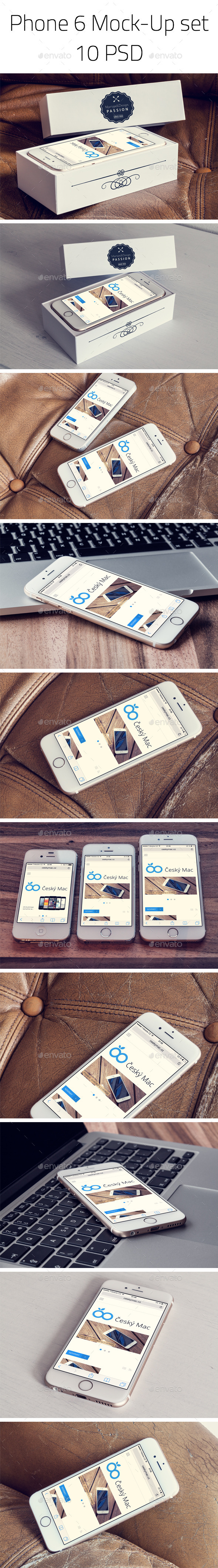 Phone 6 - Photorealistic Mock-Up set - Mobile Displays