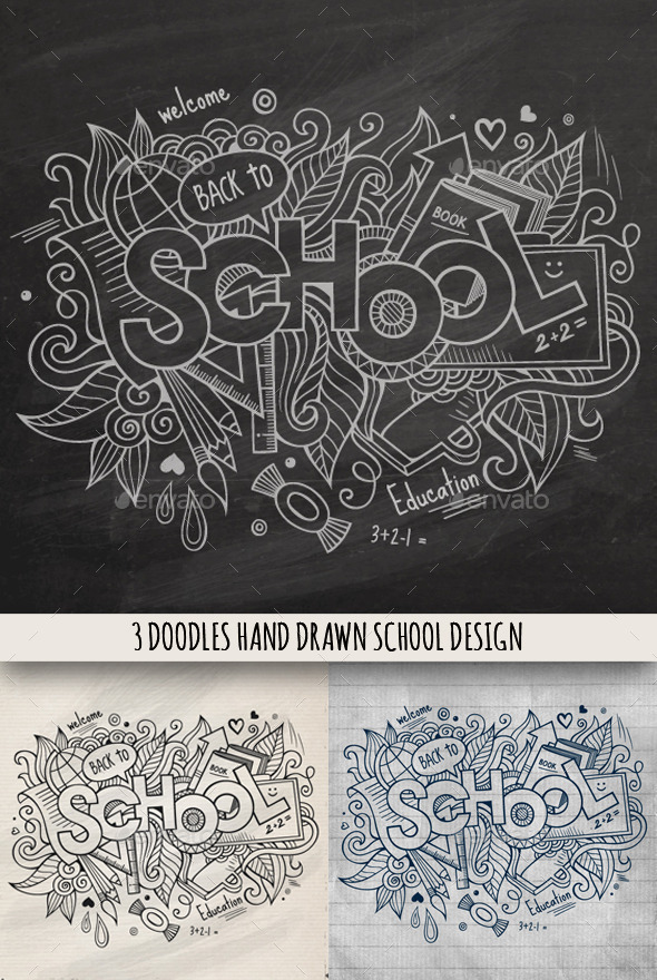 3 School Doodles Designs - Miscellaneous Vectors