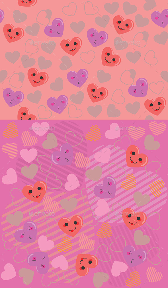 Cute Hearts Pink Pattern - Valentines Seasons/Holidays