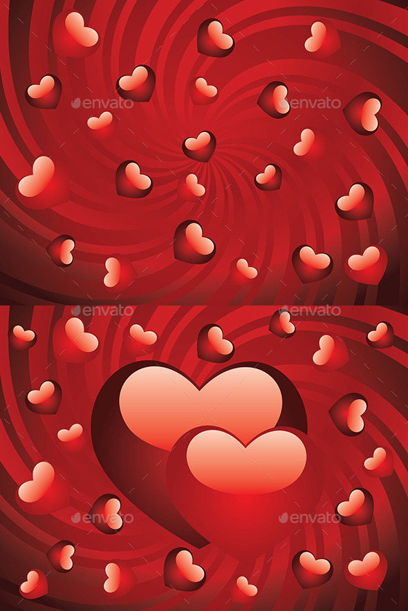 Glossy Red Hearts - Valentines Seasons/Holidays
