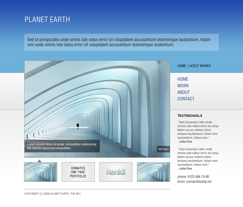 Planet Earth: The Sky - HTML Portfolio Template - Home Page