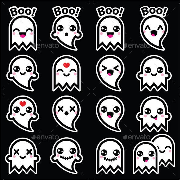 Kawaii Ghost for Halloween Icons on Black - Halloween Seasons/Holidays