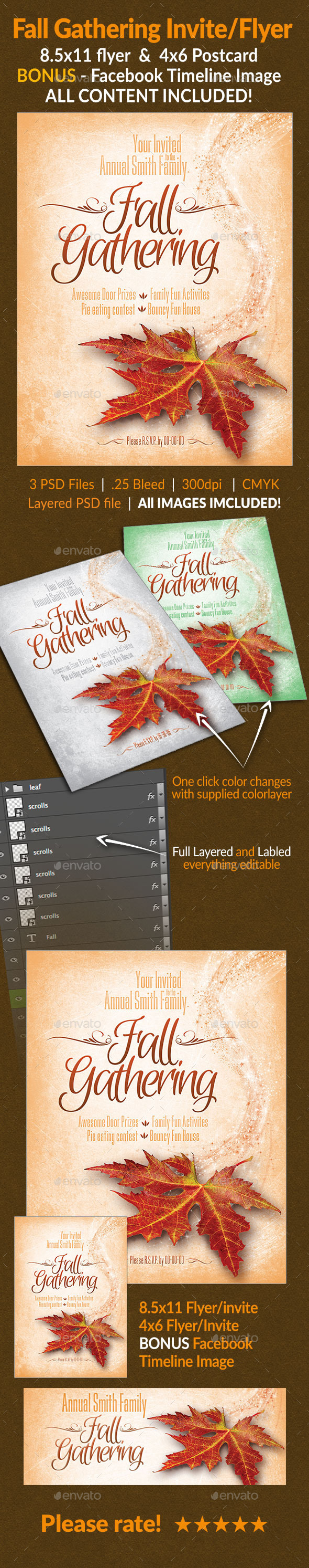 Fall Gathering Invite/Flyer Set - Holidays Events