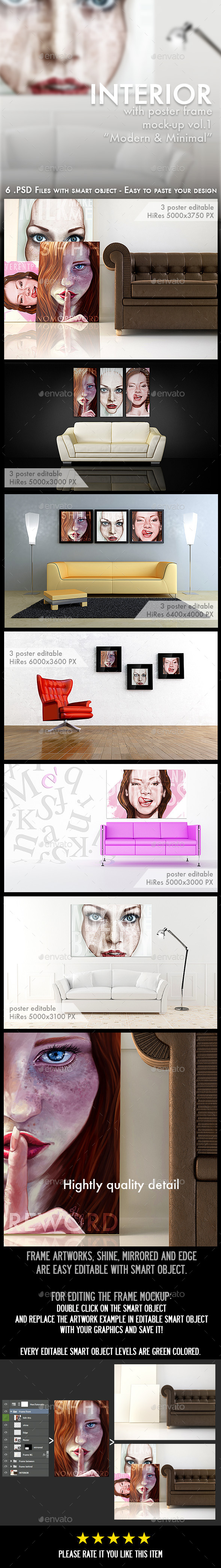 Interior with Poster and Frame Mock-Ups - Posters Print
