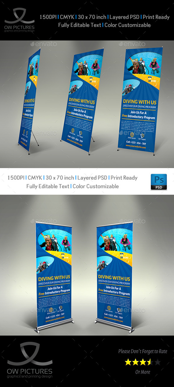 Diving Signage Roll-Up Banner Template Vol.2 - Signage Print Templates