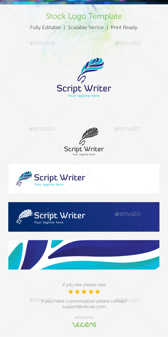 Script Writer Stock Logo Template  - Abstract Logo Templates