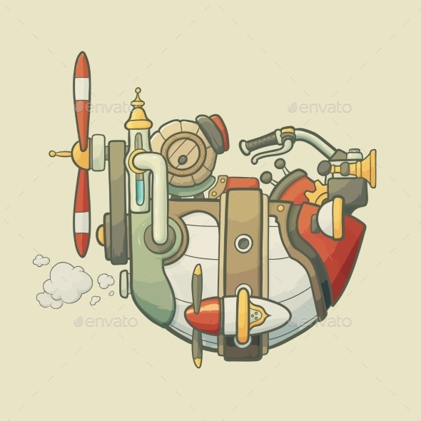 Cartoon Steampunk Styled Flying Airship - Travel Conceptual