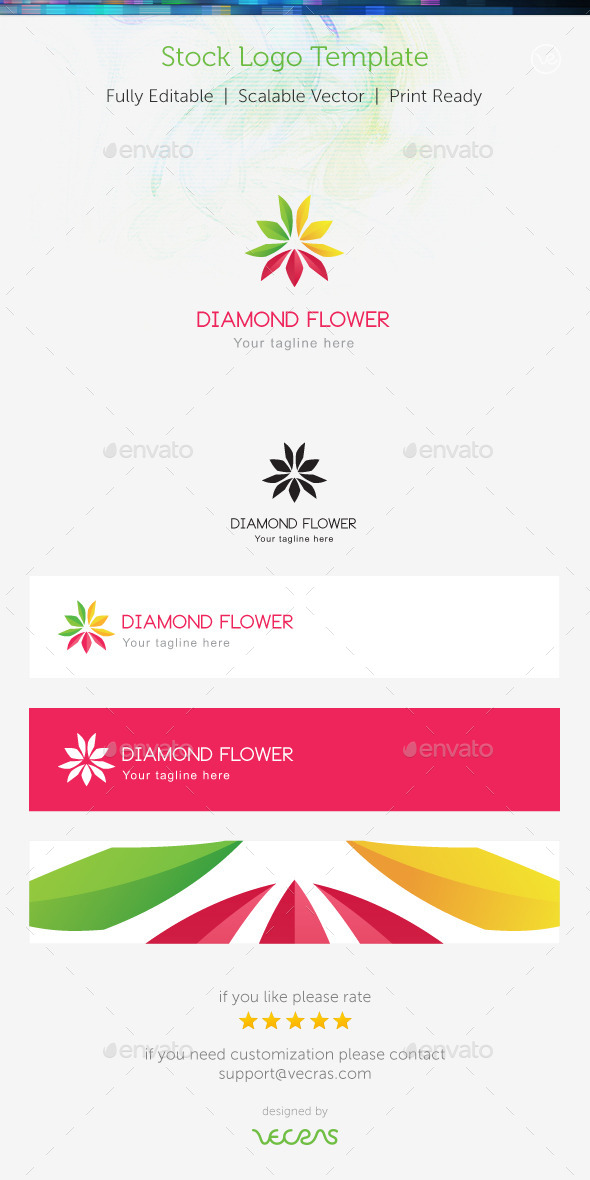 Diamond Flower Stock Logo Template  - Nature Logo Templates