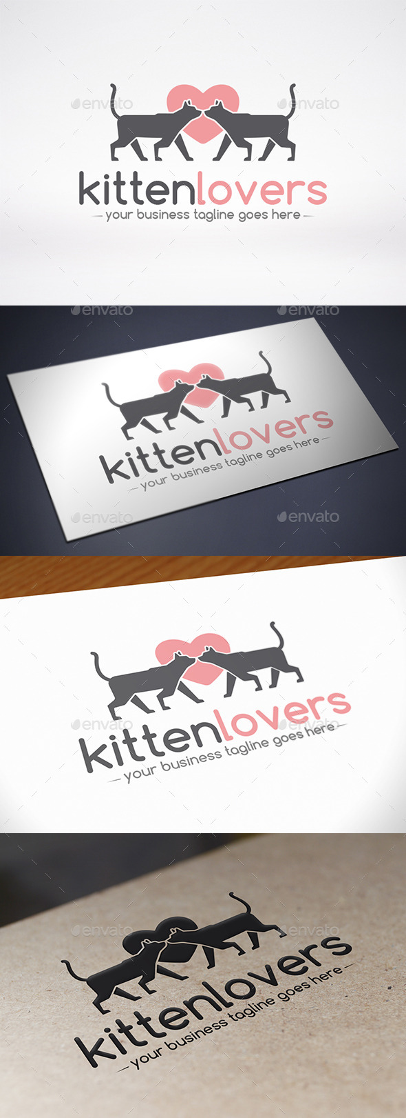 Love Cat Logo Template - Animals Logo Templates