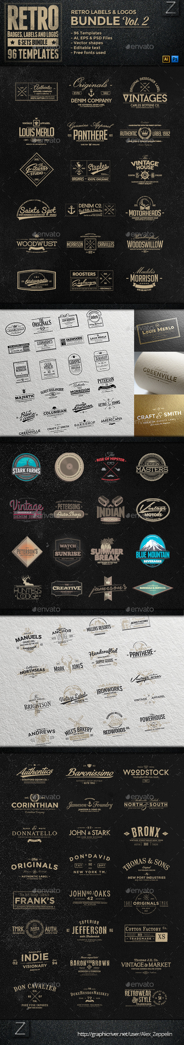 96 Retro Vintage Badges & Labels Bundle Vol.2 - Badges & Stickers Web Elements