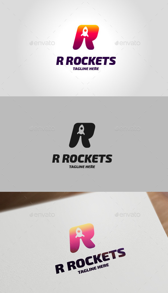Rocket R Letter Logo - Letters Logo Templates
