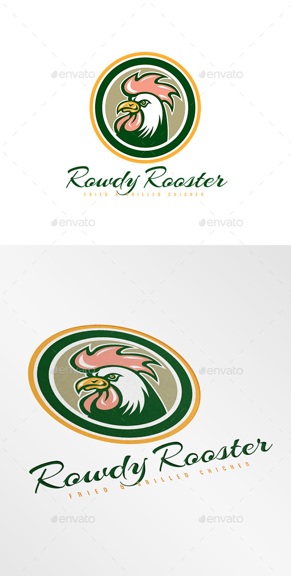 Rowdy Rooster Fried Chicken Logo - Animals Logo Templates
