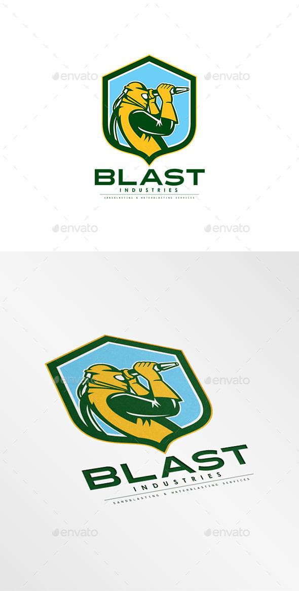 Blast Industries Sandblasting Logo - Humans Logo Templates