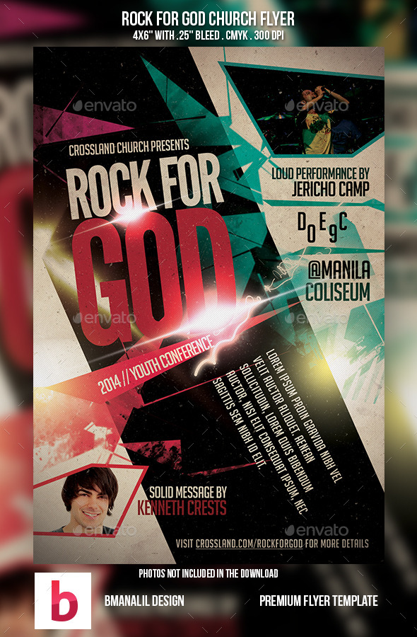Rock for God Church Flyer - Church Flyers