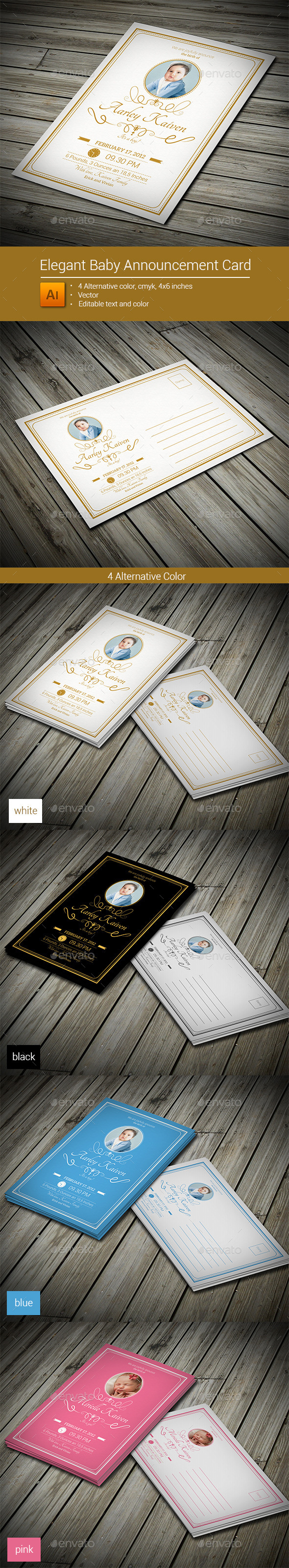 Elegant Baby Announcement Card - Family Cards & Invites