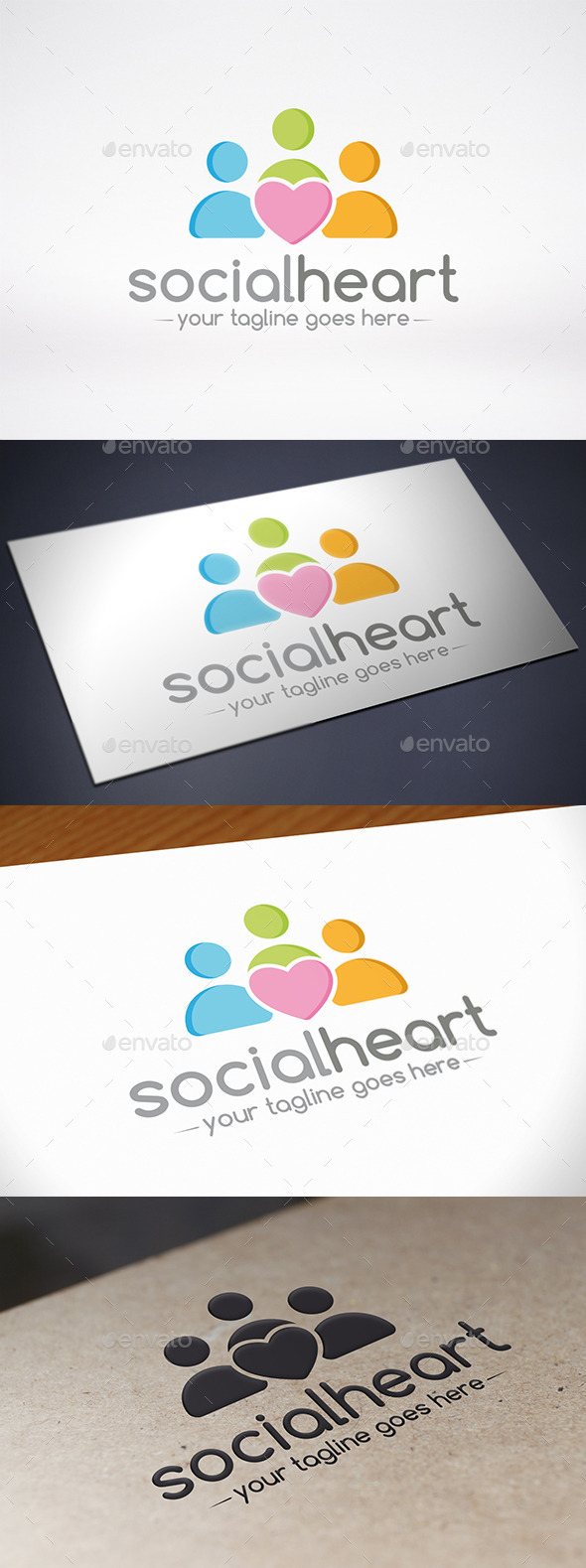 Social Love Logo Template - Humans Logo Templates